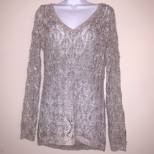 Maurices sequined gray knit v neck top